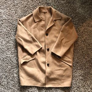 Zara wool 3/4 sleeve camel cocoon coat